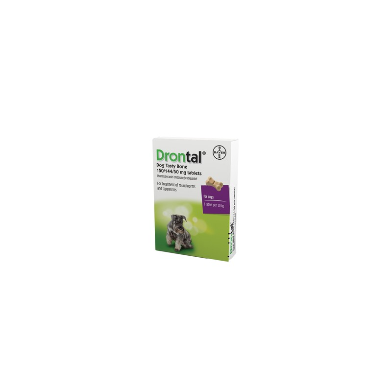 Drontal Plus Wormer Tasty Bone Dog Worming - 1 Tablet per 10kg