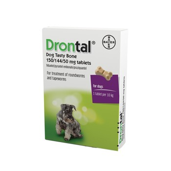 Drontal Plus Wormer Tasty Bone Dog Worming - 1 Tablet per 10kg