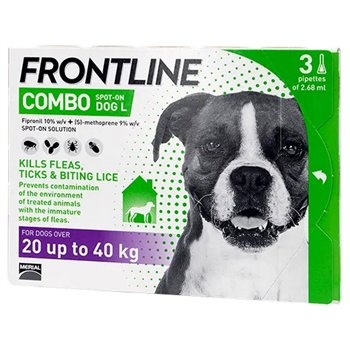 Frontline Combo Spot On x 3 Pipettes for Large Dogs 20-40kg
