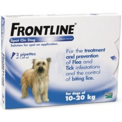 Frontline Flea Spot On for Dogs 3 pipettes of 1.34 ml - Medium Dog 10-20KG