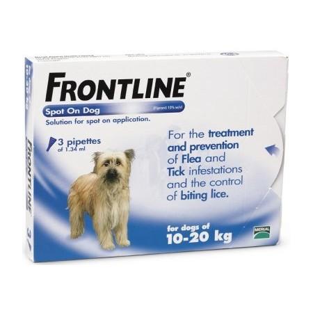 Frontline Flea Spot On for Dogs 3 pipettes of 1.34 ml - Medium Dog 10-20KG